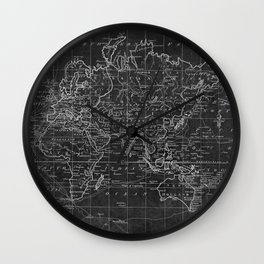 Black and White World Map (1799) Inverse Wall Clock