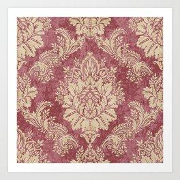 Red Cream Velvet Paisley Floral Art Print
