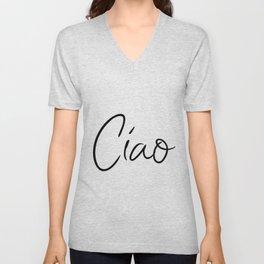 Ciao Printable art Italian greeting Typography Art Hello Goodbye Italian art Unisex V-Neck