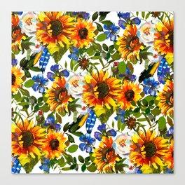 Navy blue yellow orange watercolor sunflower floral Canvas Print