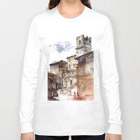 italy Long Sleeve T-shirts featuring Cortona, Italy by zawij