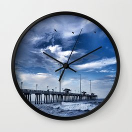 Jennette's Pier at Dusk, Nags Head, North Carolina, Outer Banks OBX  Wall Clock