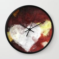 valentines Wall Clocks featuring Valentines Hearts by Fine2art