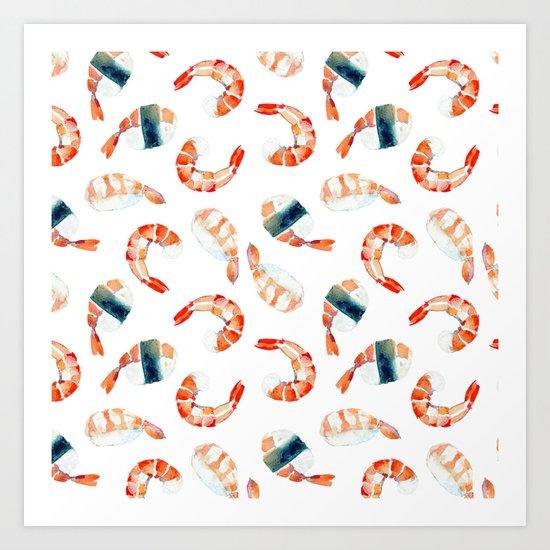 Sushi Scrimps Pattern Art Print