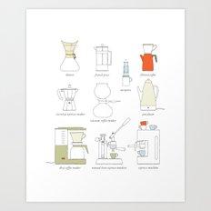 coffee makers Art Print