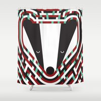 badger Shower Curtains featuring British Badger by Mina & Jon