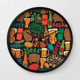beer icons seamless pattern (hops leaf, wooden barrel, glass, can, mug, bottles) Wall Clock