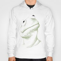 kermit Hoodies featuring Kermit Linear Curve Art by Rene Alberto