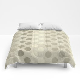 """Nude Burlap Texture and Polka Dots"" Comforters"