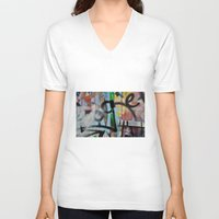 grafitti V-neck T-shirts featuring Layers by AntWoman