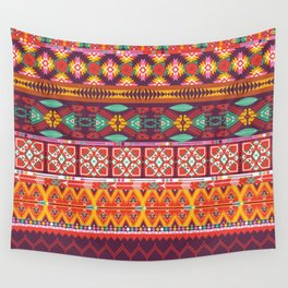 Seamless colorful aztec carpet with birds,flowers and arrow Wall Tapestry