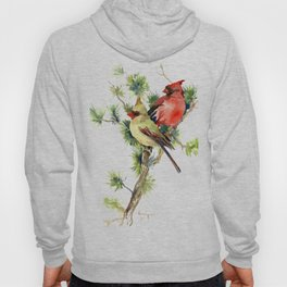 Cardinal Birds on Pine Tree Hoody