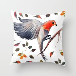 Flying Bird in Leaves Throw Pillow