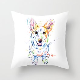 Corgi Watercolor Painting Pet Portrait Throw Pillow
