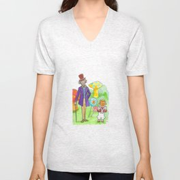 Pure Imagination: Willy Wonka & Oompa Loompa by Michael Richey White Unisex V-Neck
