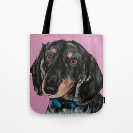 Sweet Double Dapple Dachshund Portrait, Weiner Dog Painting, Dachshund Painting Tote Bag
