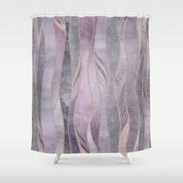 Glamorous Rose Gold Purple Wavy Glitter Lines Shower Curtain