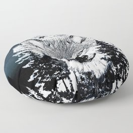 Forest Wolf Art Floor Pillow