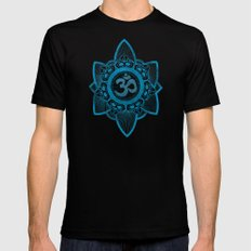Ohm - Yoga Print Black Mens Fitted Tee LARGE