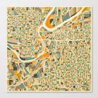 kansas city Canvas Prints featuring KANSAS CITY Map by Jazzberry Blue