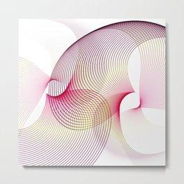 Flower minimal lineart scandinavian pink Metal Print