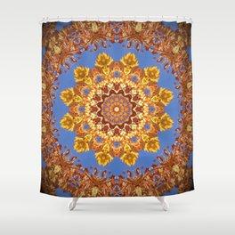 Orange chakra Print, home Meditation art Positive Energy Intention Symbol, Mandala yoga studio leaf Shower Curtain