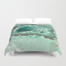 Minty Geode Crystals Duvet Cover