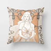 daenerys Throw Pillows featuring Khalisi Art Nouveau by IdentityPollution