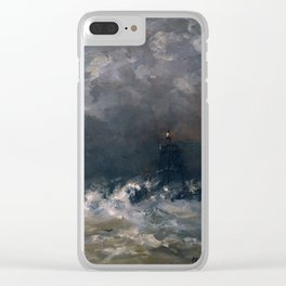 Lighthouse in Breaking Waves Clear iPhone Case