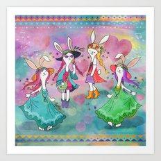 Bohemian Summer Bunnies Art Print