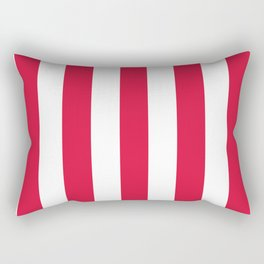 Crimson fuchsia - solid color - white vertical lines pattern Rectangular Pillow
