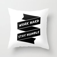 work hard Throw Pillows featuring Work Hard by WellHued