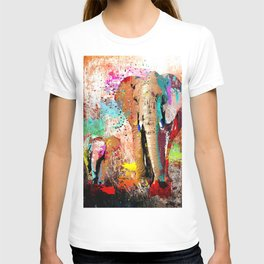 African Elephant Family Painting T-shirt