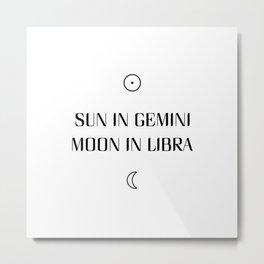 Gemini/Libra Sun and Moon Signs Metal Print