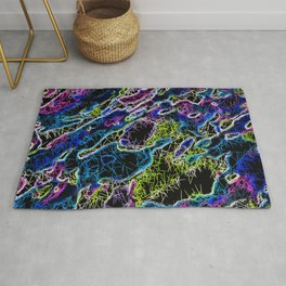 psychedelic rotten sketching texture abstract background in blue yellow pink Rug