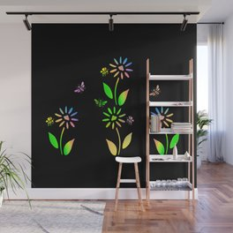 Bees And Flowers Wall Mural