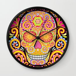 Day of the Dead Sugar Skull (Psychedelia) Wall Clock