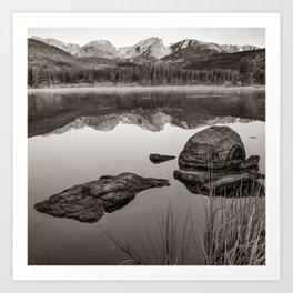Morning Mountain Light over Sprague Lake - RMNP Colorado Sepia Art Print