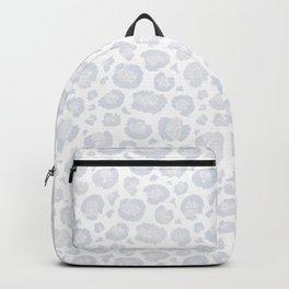 White & Light Gray Leopard Print  Backpack