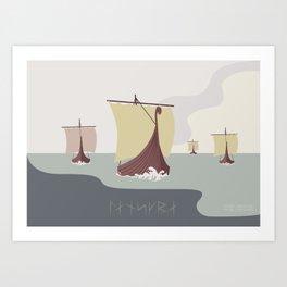 111-4-2 VIKING LONGSHIPS (LANDSCAPE) Art Print