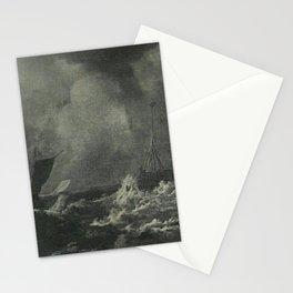 Jacob van Ruisdael - Sailing ships in stormy seas Stationery Cards