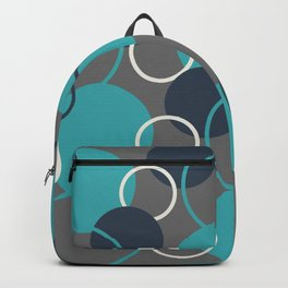 Teal Turquoise Aqua Dark Navy Blue and Alabaster White Solid Color Circles and Rings Pattern - Aquarium SW 6767 Backpack