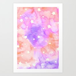 Starry Sky Raspberry Milkshake Art Print