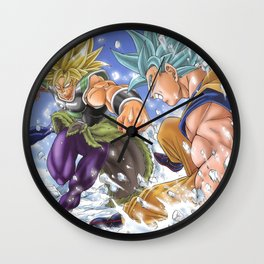 goku super saiyan god blue versus broly Wall Clock