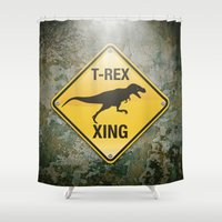 t rex Shower Curtains featuring T-Rex Crossing by Peter Gross