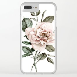Faded Pink Rose Clear iPhone Case