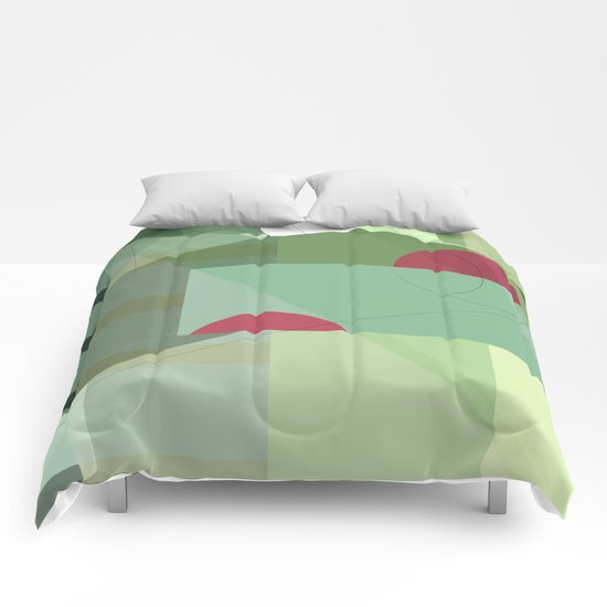 Geometric abstract green No. 1 Comforters
