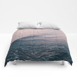 Pink Sunset Waves Comforters