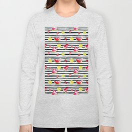 Hand painted black pink yellow watercolor summer fruit pattern Long Sleeve T-shirt