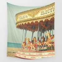 carousel Wall Tapestries featuring Seaside Carousel by Cassia Beck